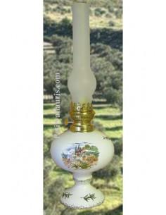 Lampe sur pied en faience bec à huile-pétrole ou montage éléctrique décor paysage provençal brin d'olives