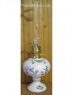 Lampe sur pied en faience bec à huile-pétrole ou montage éléctrique décor reproduction moustiers bleu