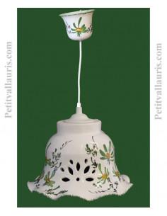 Petite suspension en céramique blanche modèle cloche dentellée décor fleuri vert