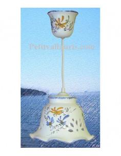 Suspension décorative céramique dentelée Cloche fleurie jaune et bleue