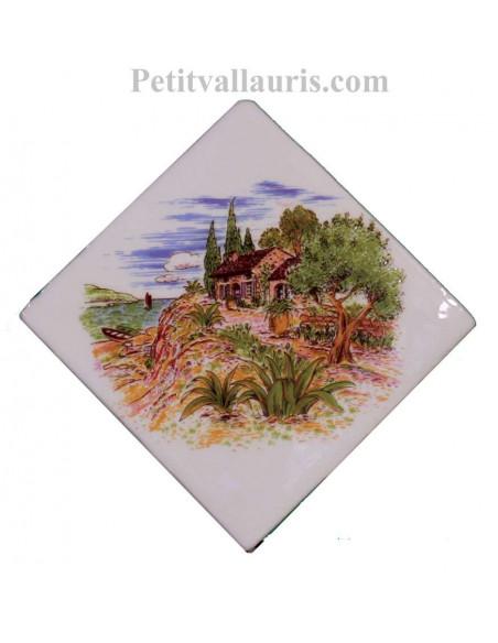 Décor sur carreau mural 10x10 cm en faience blanche motif bastide et olivier pose diagonale