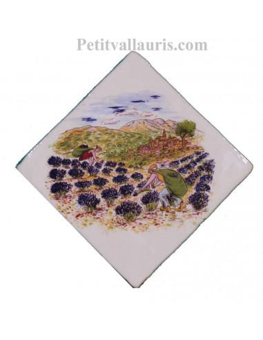 Décor sur carreau mural 10x10 cm en faience blanche motif cueillette des lavandes