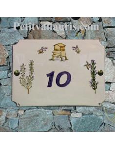 Grande plaque de villa en faience motif artisanal Abeille + ruche + romarin + lavande avec personnalisation