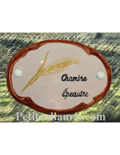 Plaque de porte en faience blanche modèle ovale motif artisanal brin d'epeautre avec personnalisation