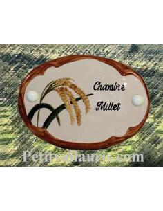 Plaque de porte en faience blanche modèle ovale motif artisanal brin de millet avec personnalisation