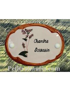 Plaque de porte en faience blanche modèle ovale motif artisanal brin de Sarasin avec personnalisation