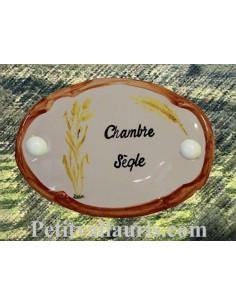 Plaque de porte en faience blanche modèle ovale motif artisanal brin de Sègle avec personnalisation