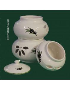 Conservateur en faience blanche pour Ail, Oignon et Echalotte 3 pots empilés motif décor olives noires