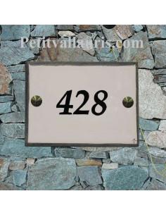 plaque de signalisation en céramique émaillée blanche bord gris + inscription personnalisée