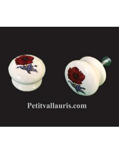 Bouton de tiroir en porcelaine blanche pour meuble décor Coquelicot (diamètre 35 mm)