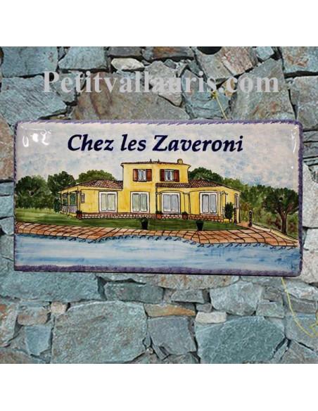 Grande plaque rectangle en faience décor artisanal d'après photo villa de client + personnalisation
