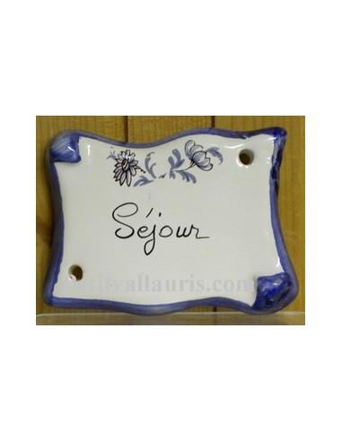 Plaque parchemin Séjour tradition vieux moustiers bleue Fin de série