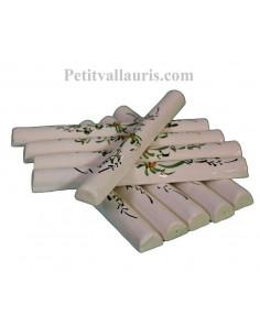 Listel de finition en faience blanche modèle demi-lune fin décor artisanal fleurs vertes