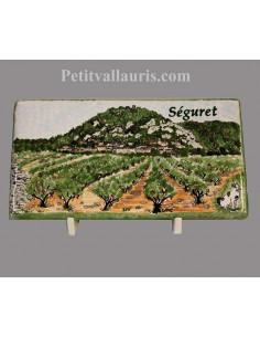 Plaque funéraire en céramique modèle rectangulaire paysage village de provence avec votre personnalisation
