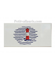 Carrelage frise 10 x 20 blanc brillant collection marine avec motif phare rouge et blanc
