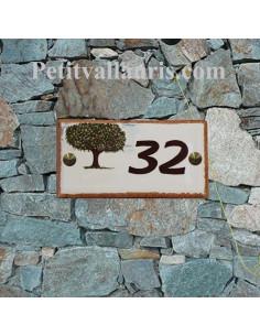 Plaque de maison en faience émaillée motif artisanal arbre murier-platane avec votre inscription personnalisée
