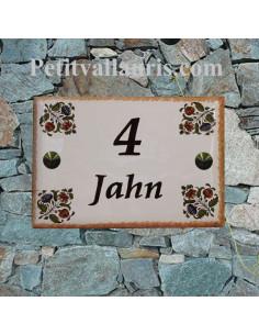 Plaque entrée de maison en faience émaillée décor fleurs polychromes + gravurepersonnalisée