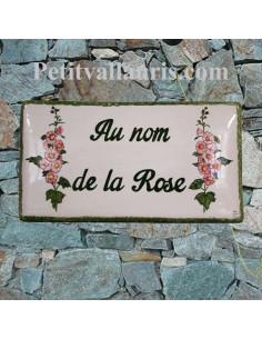 Plaque de maison en céramique émaillée décor artisanal les roses trémières + inscription personnalisée