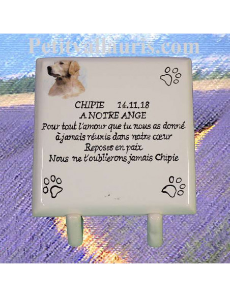Plaque funéraire en céramique à poser motif chien race Labrador avec inscription personnalisée