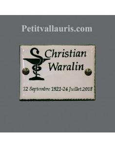 Plaque funéraire en céramique de forme rectangulaire motifs symbole caducée + personnalisation