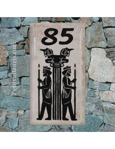 Plaque de Maison en céramique émaillée rectangle décor colonnes de persepolis + inscription personnalisée