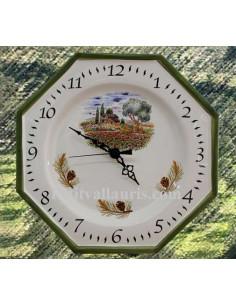 Horloge-Pendule murale en faïence blanche modèle octogonale collection provence décor champ coquelicots bord vert