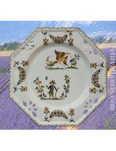 Assiette modéle octogonale ajourée en faience blanche décorative décor reproduction moustiers polychrome D27