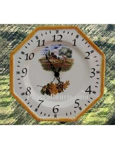 Horloge-Pendule murale en faïence blanche modèle octogonale collection provence décor champ coquelicots et bord jaune orangé