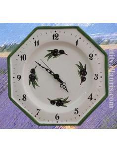 Horloge-Pendule murale en faïence blanche modèle octogonale collection provence décor olives noires