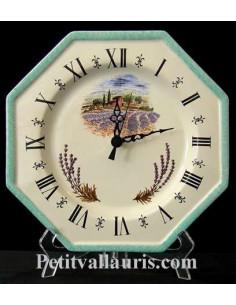Horloge-Pendule murale en faïence blanche modèle octogonale collection provence moulin et récolte des lavande bordure turquoise