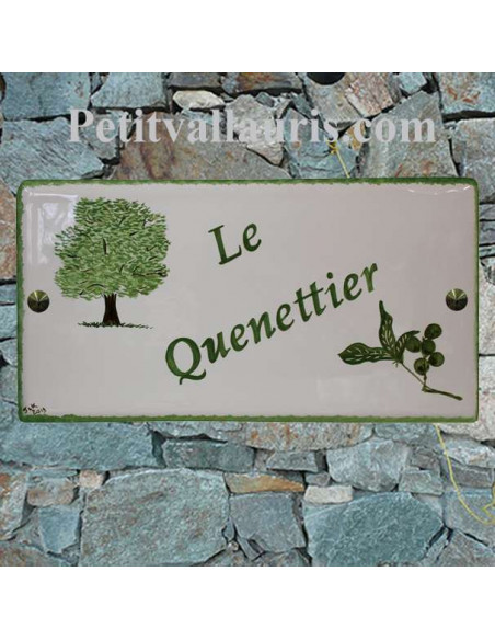 Grande plaque de maison rectangle en faience 40 x 20 cm décor artisanal arbre fruitier quenettier + personnalisation