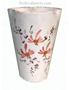 Vase modèle Glaïeul en faïence décor artisanal Fleurs roses hauteur 25 cm