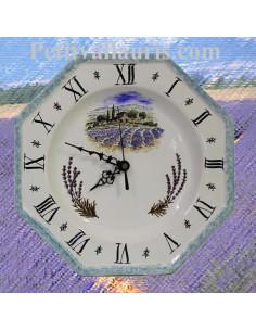 Horloge-Pendule murale en faïence blanche modèle octogonale collection provence décor champ de Lavande et bord gris