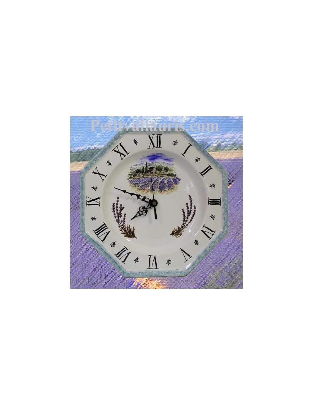 Horloge Pendule En Bois Theme Gros Bouquet De Lavande et Romarin Intitul/é Lavande Provence PRODUIT PROVENCAL