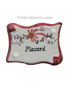 Plaque de porte en faience émaillée blanche modèle parchemin décor artisanal fleurs roses inscription Placard