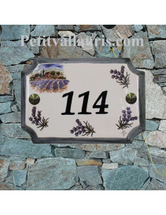 Plaque de villa en céramique décor bastide provençale et brins de lavande + personnalisation