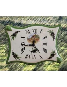 Horloge-pendule murale en faïence modèle parchemin décor brins d'olives et paysages bord de mer