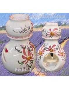 Brûle-bruleur de parfum en faïence blanche décor artisanal fleurs roses