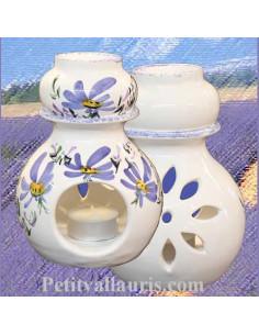 Brûle-bruleur de parfum en faïence blanche décor artisanal fleurs bleu