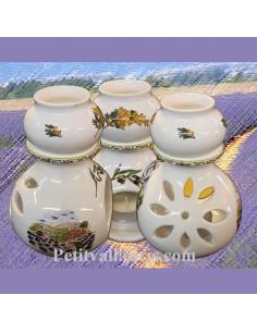 Brûle-bruleur de parfum en faïence blanche décor motifs provençaux avec petite cigale en relief