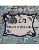 Plaque numérotation pour votre maison en céramique forme parchemin motif moulin + champs de lavandes + personnalisation