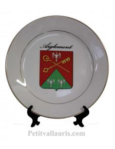 Assiette pour jumelage en porcelaine avec personnalisation inscription et écusson commune