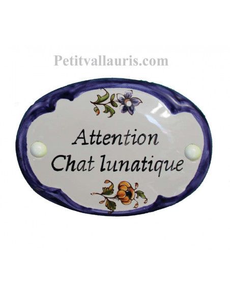 Plaque de porte en faience blanche modèle ovale bord couleur bleu décor fleurs polychrome avec personnalisation