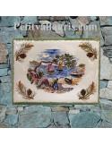 plaque de maison céramique décorative motif bastide provençale et brins d'olives rouge cigale en relief