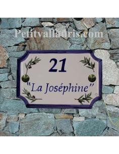 Plaque de Maison en céramique aux angles incurvés motif brins d'olives et inscription personnalisée