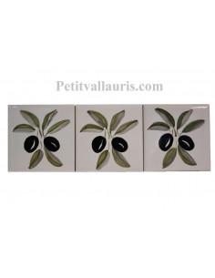 Décor sur carreau mural 10x10 cm en faience blanche pose classique motif artisanal brin d'olives noires