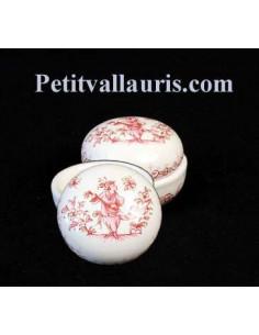 Petite Boîte à bijoux en faience blanche forme ronde motif tradition rose