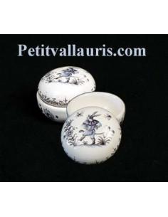 Petite Boîte à bijoux en faience blanche forme ronde motif tradition bleu