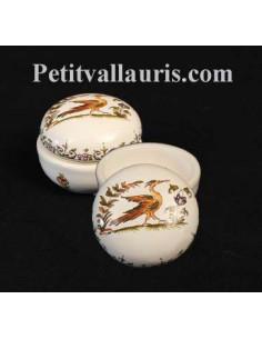 Petite Boîte à bijoux en faience blanche forme ronde motif tradition polychrome