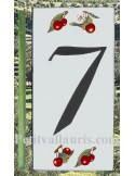 Numero de rue chiffre 7 décor cerises